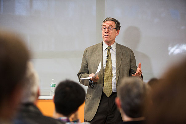 Professor Peter Bol uses ancient legends to lead a discussion on China's past, present, and future. Jon Chase, Harvard Staff Photographer.